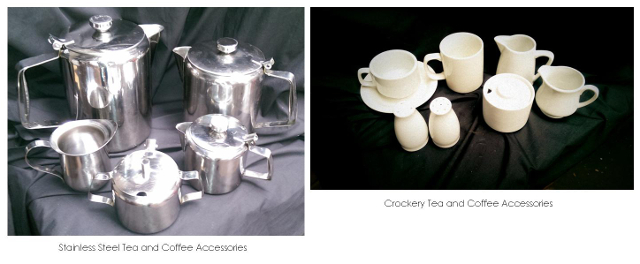 Stainless Coffee and Tea equipment $1 - $3, White Crockery Tea and Coffee equipment 80c - $2.20