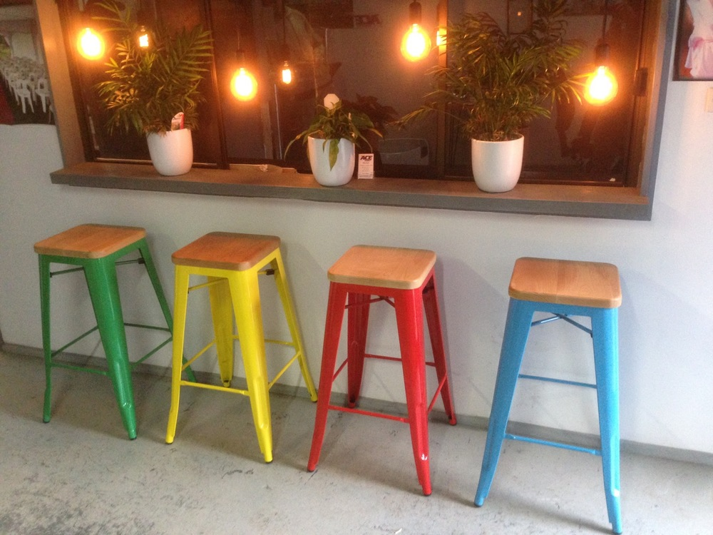 Replica Tolix Stools with timber seat (White, Red, Blue, Green, Yellow) $16