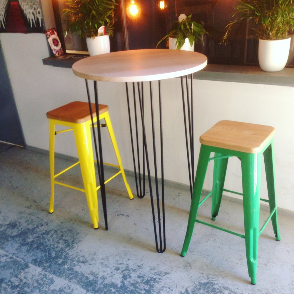 Timber Seat Tolix Stools $16Hairpin Bar Table $55