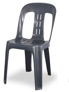 Charcoal Chairs $2.70, White Garden Chairs $3.90 and White Padded Folding Chairs $6.30