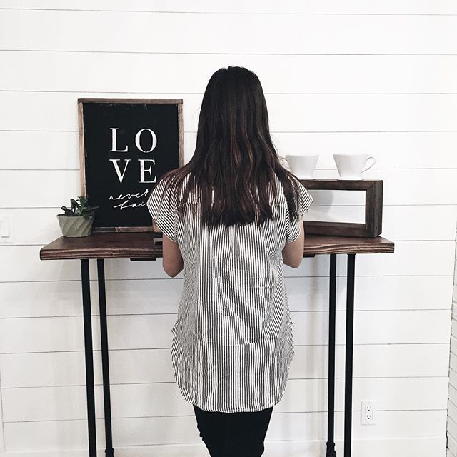 With the amount of work I do on my laptop, Ben went and built me a stand up desk🎉 This was a great investment. No more slouching for me😁We will post our DIY for this one soon! ... { Woodsign from @medleyandco }