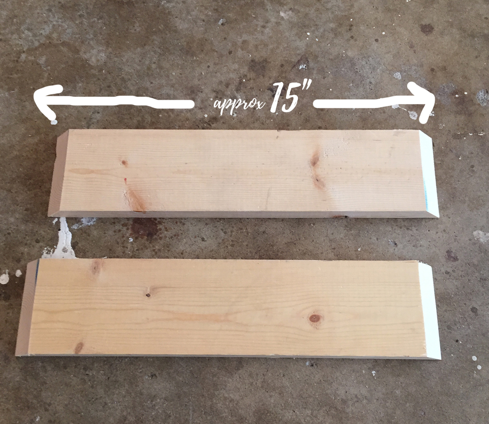 "Next we took our two 15"" 1x4's and cut the ends at a 45 degree angle using our miter saw."