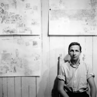 Rauschenberg with three transfer drawings in his Front Street studio, New York, 1958. Photo: Jasper Johns