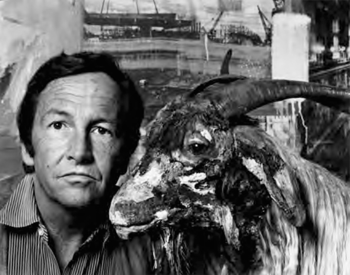 Rauschenberg with Monogram (1955–59) and, in background, Estate (1963) at the retrospective exhibition Robert Rauschenberg, National Collection of Fine Arts, Washington, D.C., 1976. Photo: Gianfranco Gorgoni