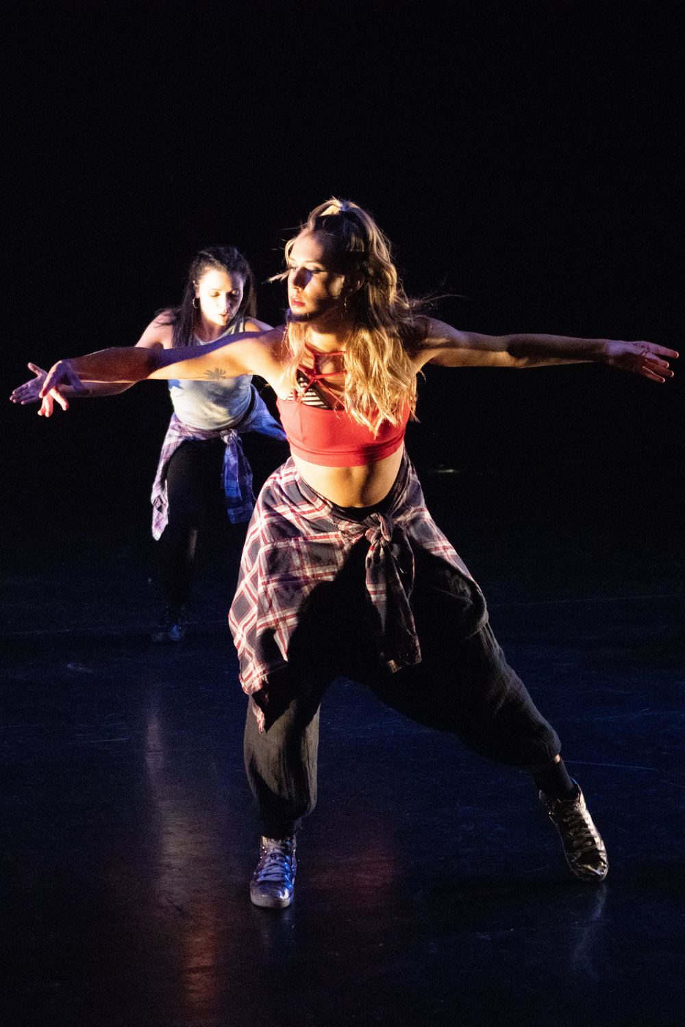 Erika Chancellor front and Christina Cerrato of Dangerous Brood in Dance Complex Teaching Artist Concert December 1-2 2018 in If You Want Love by NF. Choreo by Sharon Montella.jpg