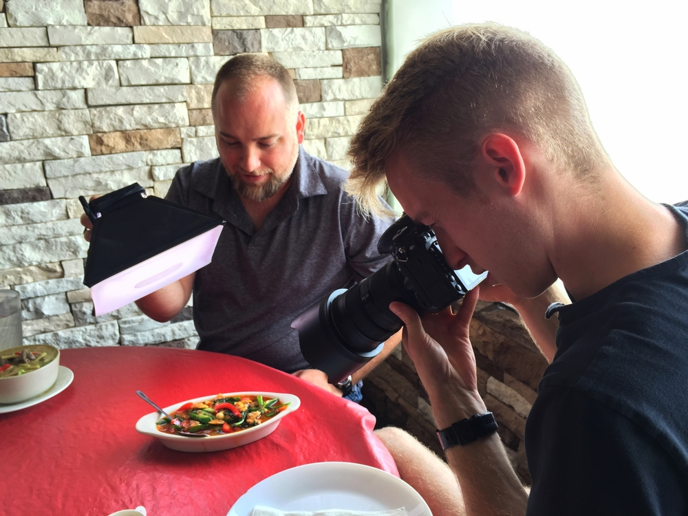 Stephen and I use his new LED light bank.  Portable and powerful, a must for food blogging.
