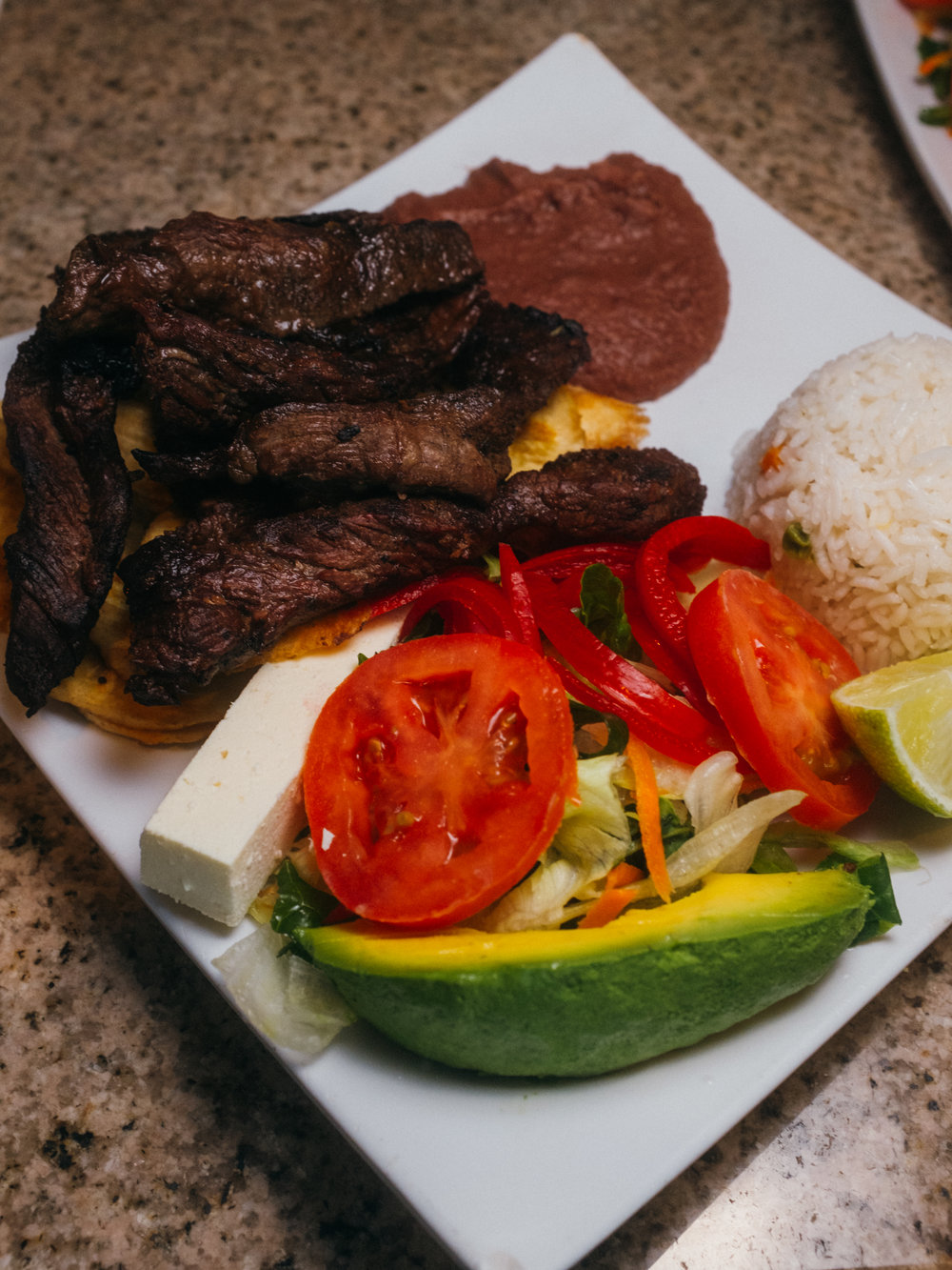 Carne Asada over a bed of bananas chips