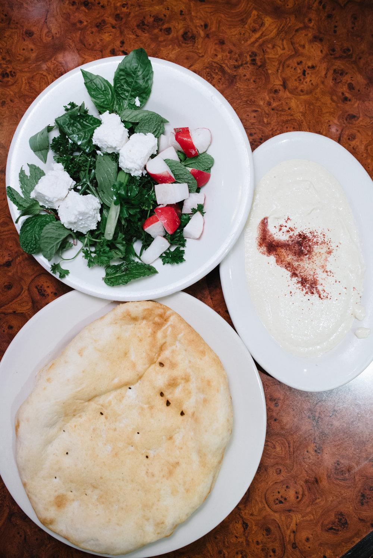 Fresh Herbs, Feta, Bread and Humus