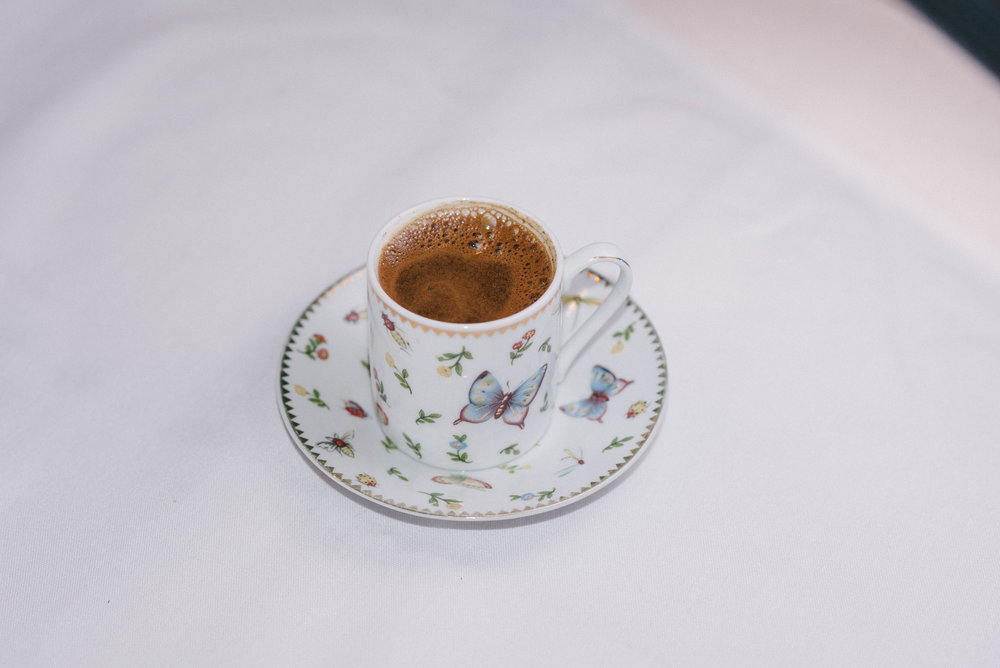 Turkish Coffee: sweet and strong with a ratio of one part grounds, one part sugar, and one part water.