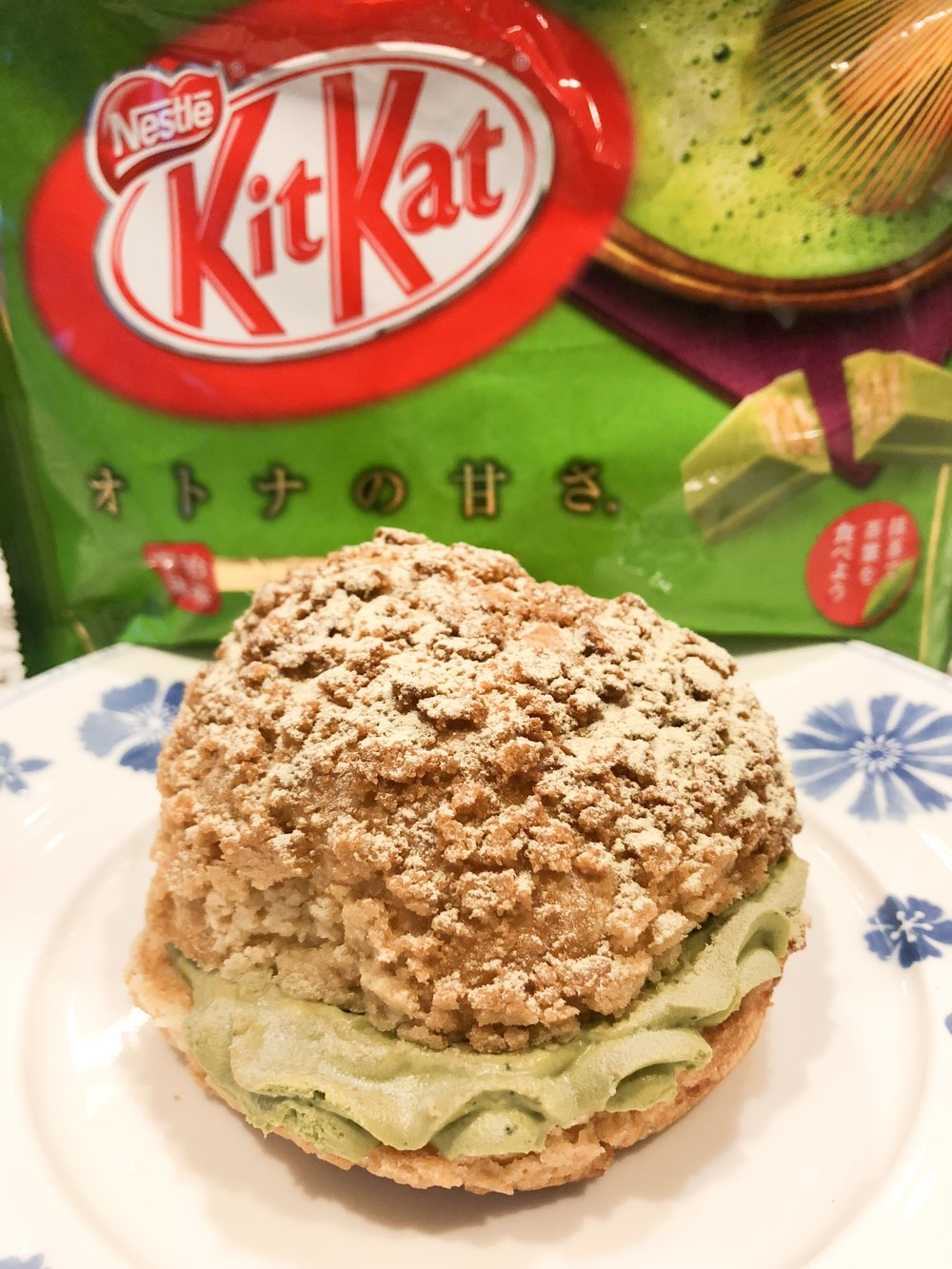 Matcha Flavored Cream Puff and Kit Kats
