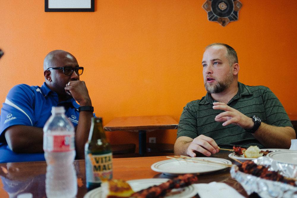 Conversation with restaurant locals
