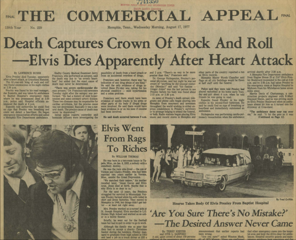 "Headline on August 17, 1977 in the Memphis Newspaper ""The Commercial Appeal"""
