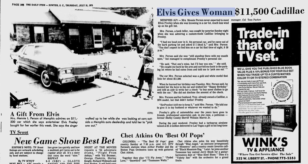 Elvis gives a lady admiring his Cadillac one of her own on Sunday July 27th, 1975.