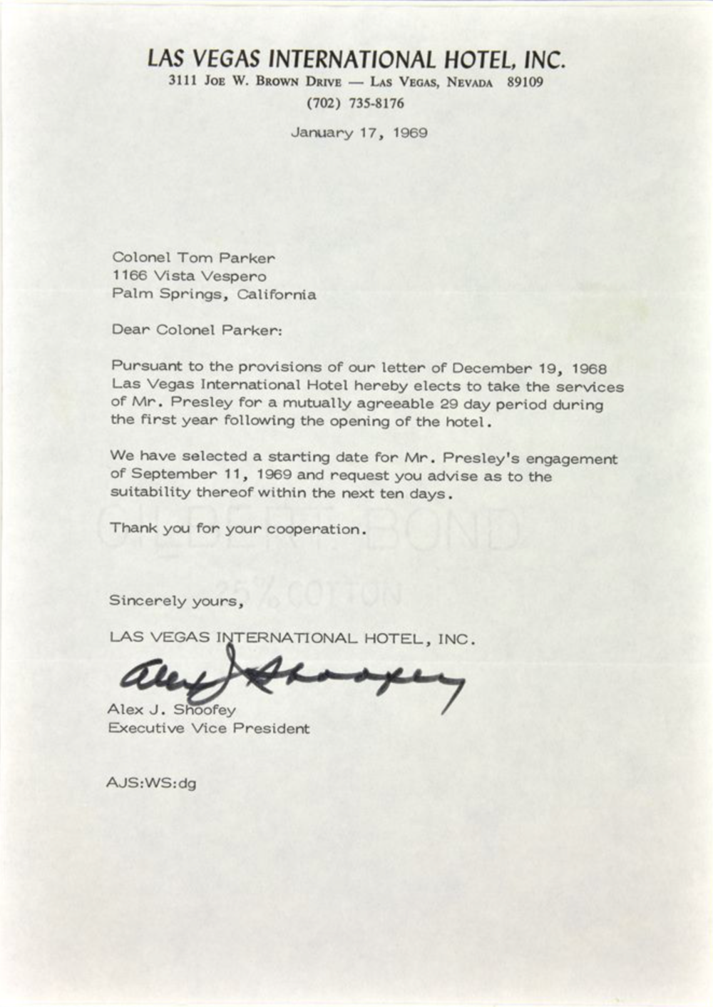Click to view the letter from Alex Shoofey to Colonel Parker requested Elvis for concert performances.