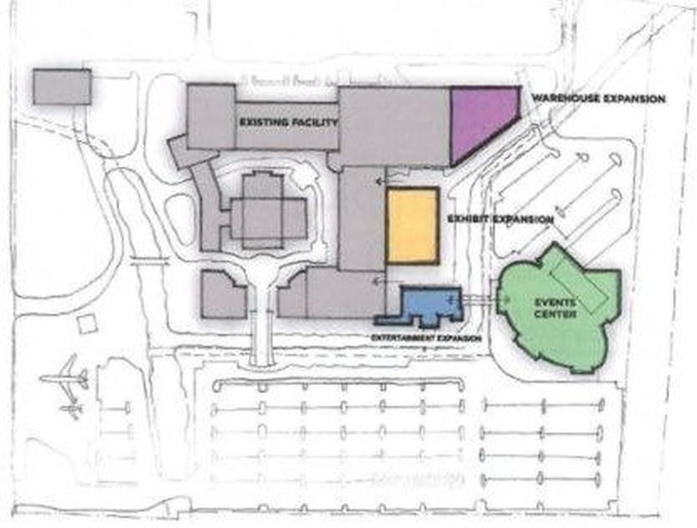 Map showing proposed Graceland addition of Event Center, Exhibit and Entertainment expansion.