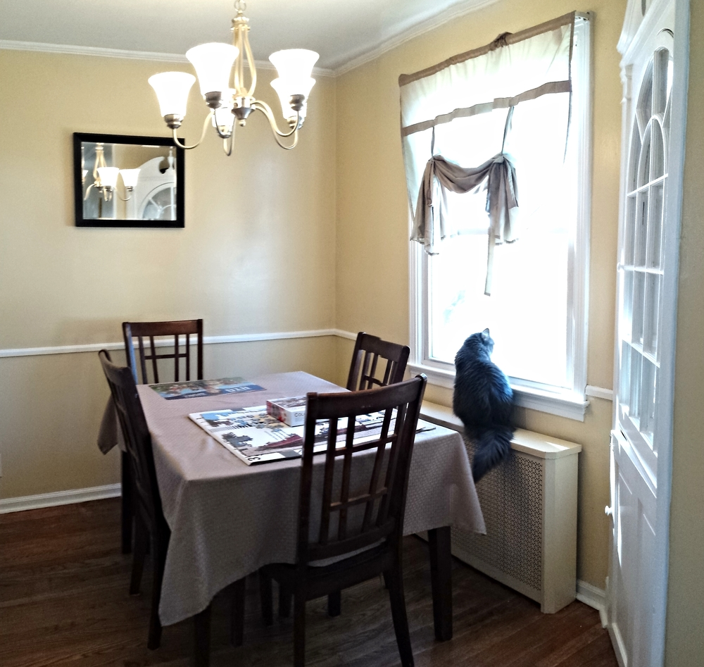 Dining Room Before. Although the cat was happy with the window treatments, the color and shape didn't help showcase how bright and charming the room is.