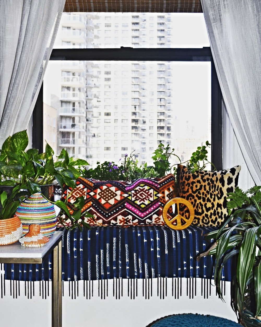 "Our Manhattan Apartment ""Window Seat"" Incorporating Leopard Pillows"