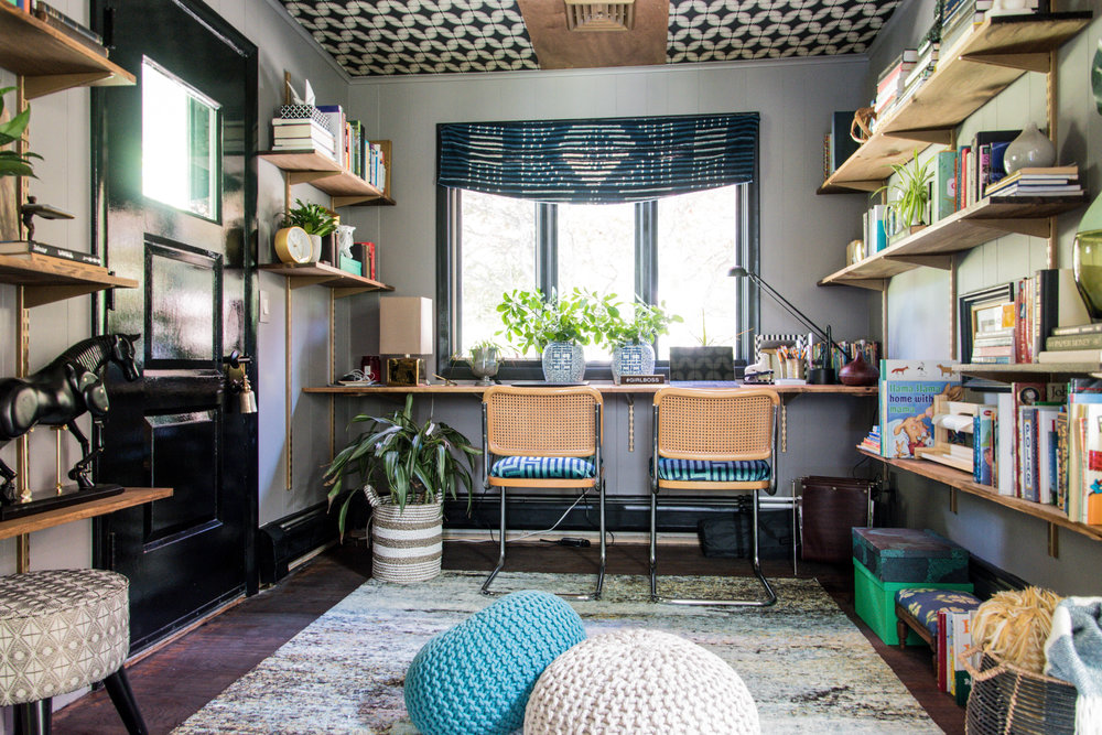 modern eclectic midcentury office remodel shelving therathproject