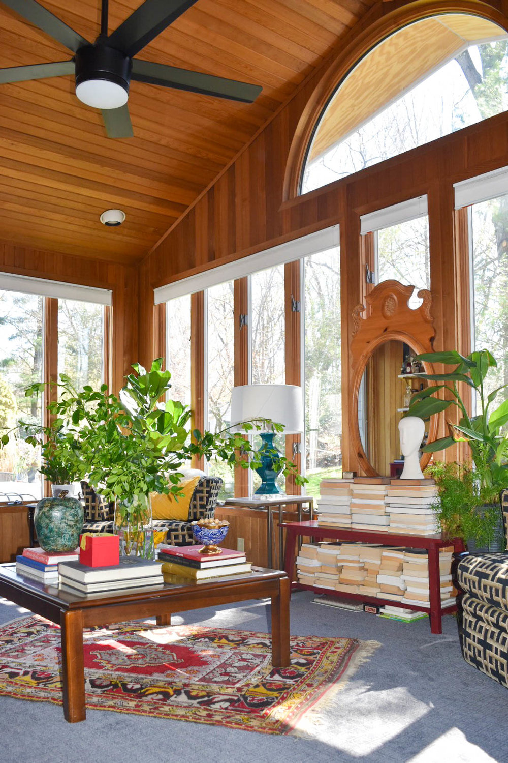 modern eclectic midcentury patterned colorful collected sunroom remodel therathproject