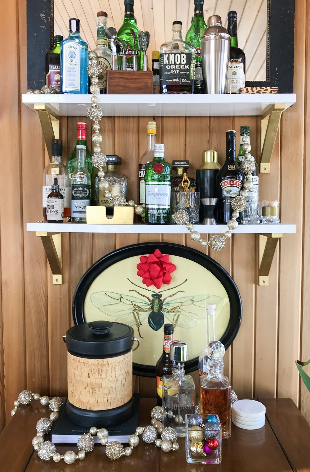 home bar decorated for the holidays by the rath project
