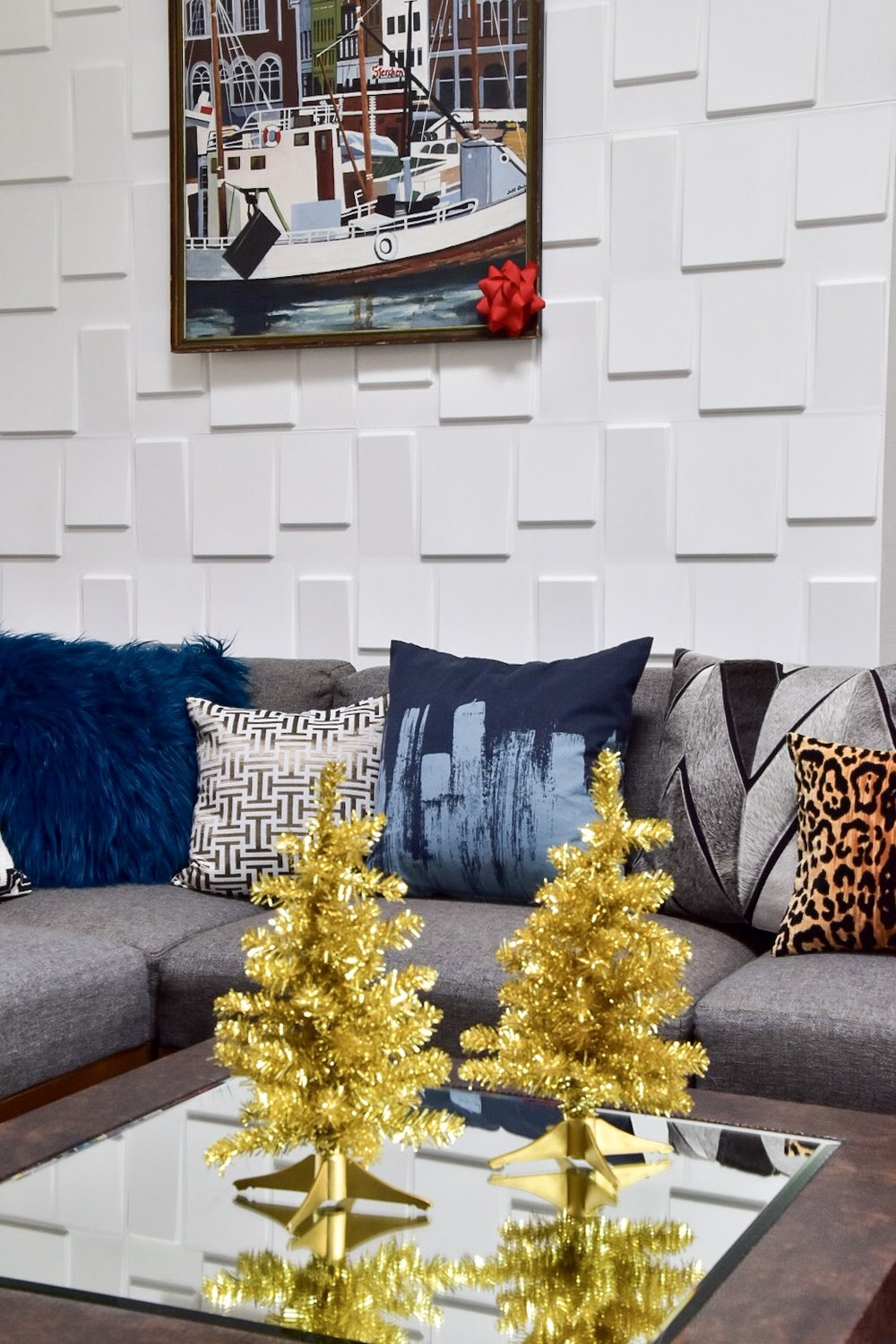 pattern filled family room with kid friendly holiday decor by the rath project