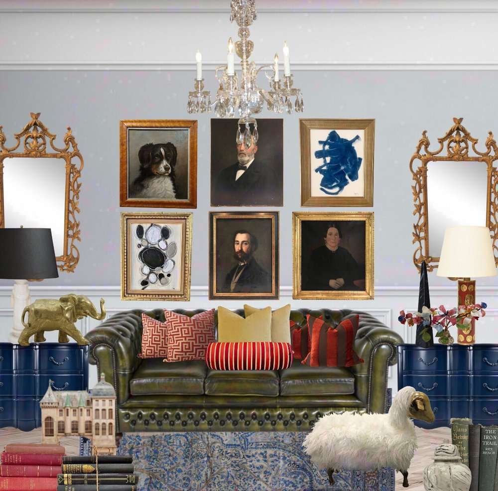 Collected Maximalist room with gallery wall using Chairish products design by the rath project