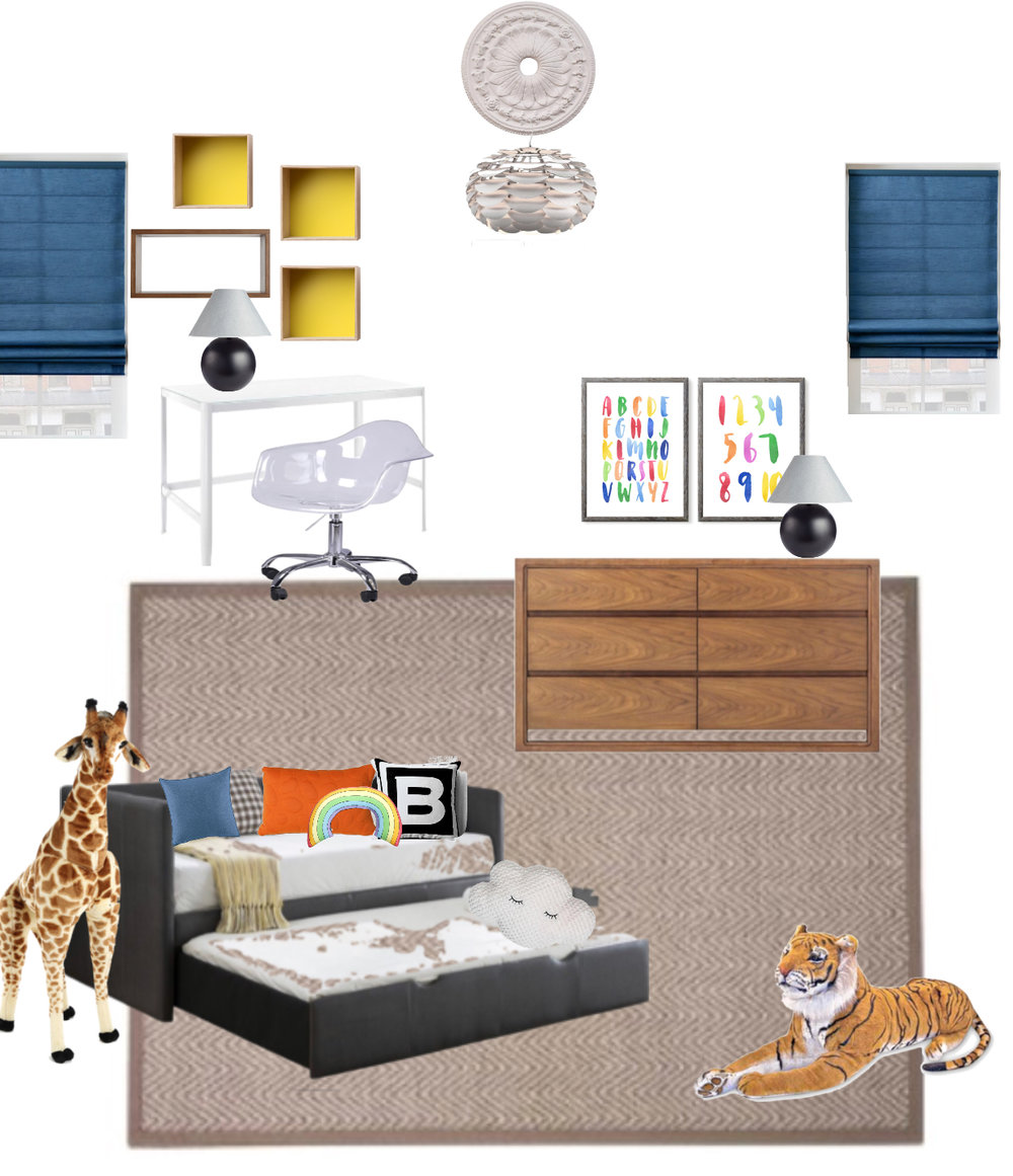 modern colorful kids bedroom design mood board by the rath project
