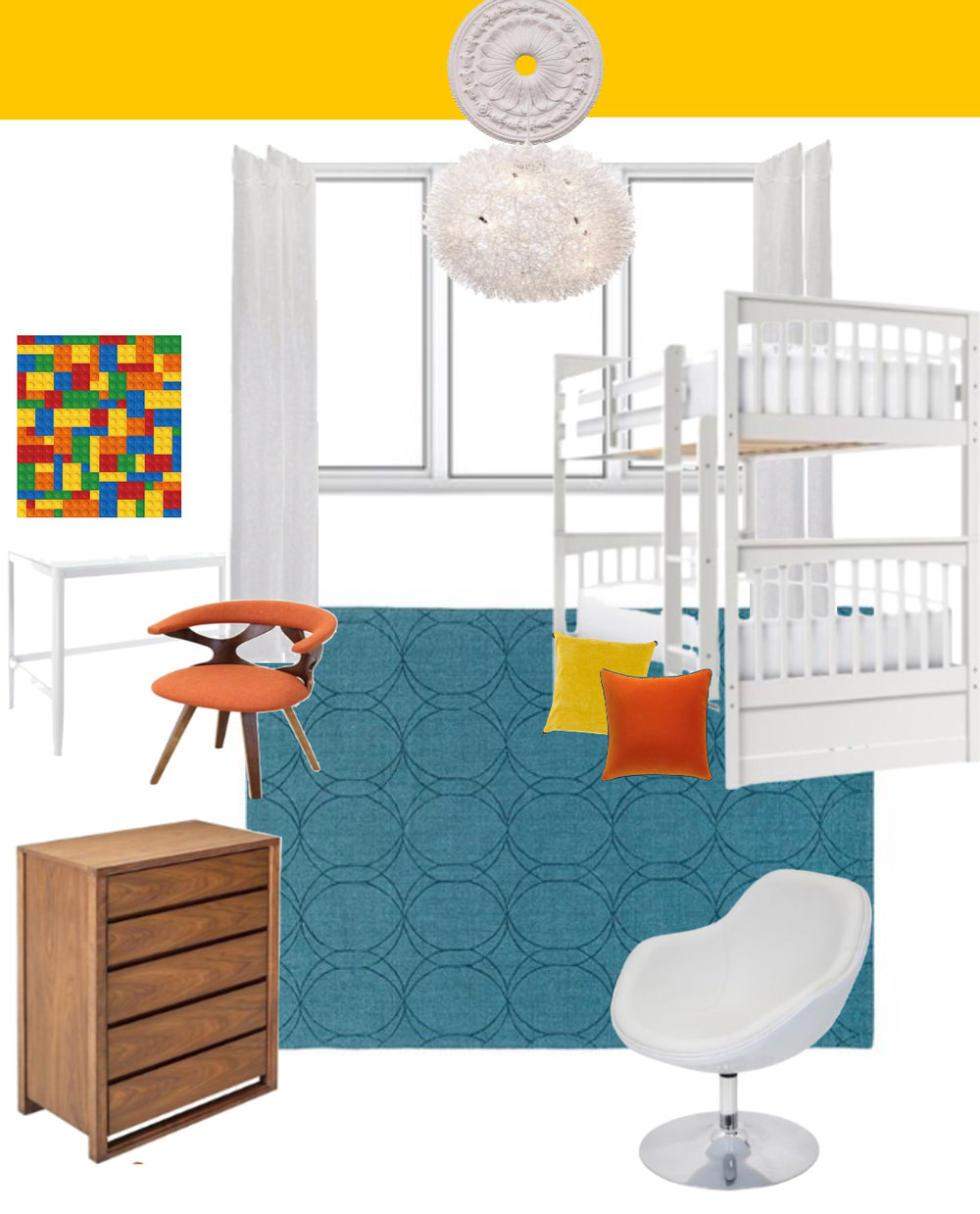 colorful modern kids bedroom design moodboard by the rath project