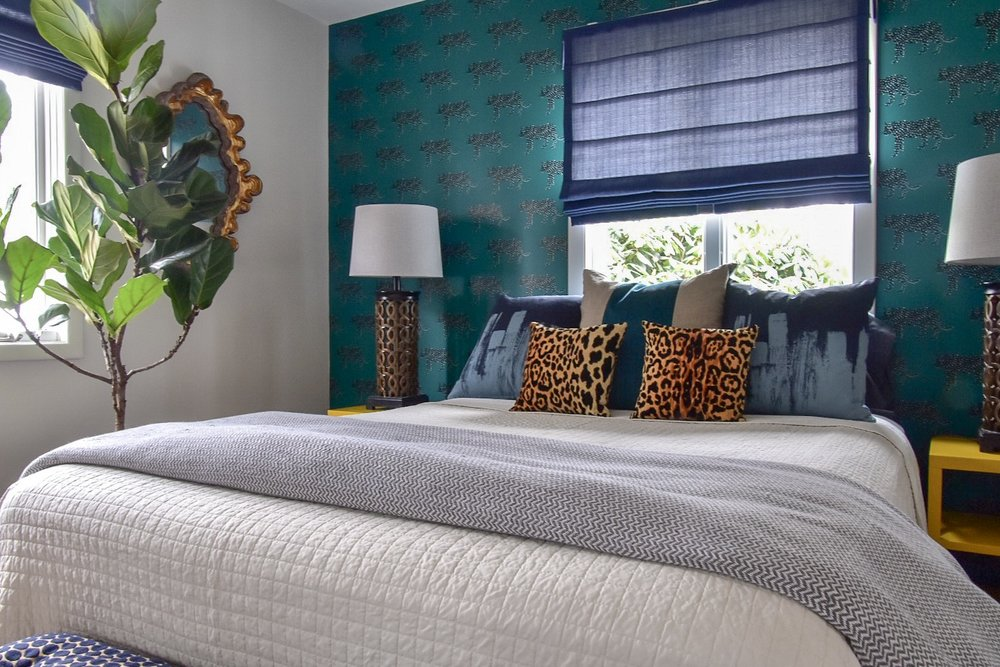 Glam Eclectic Global Guest Room with removable wallpaper designed by the Rath Project