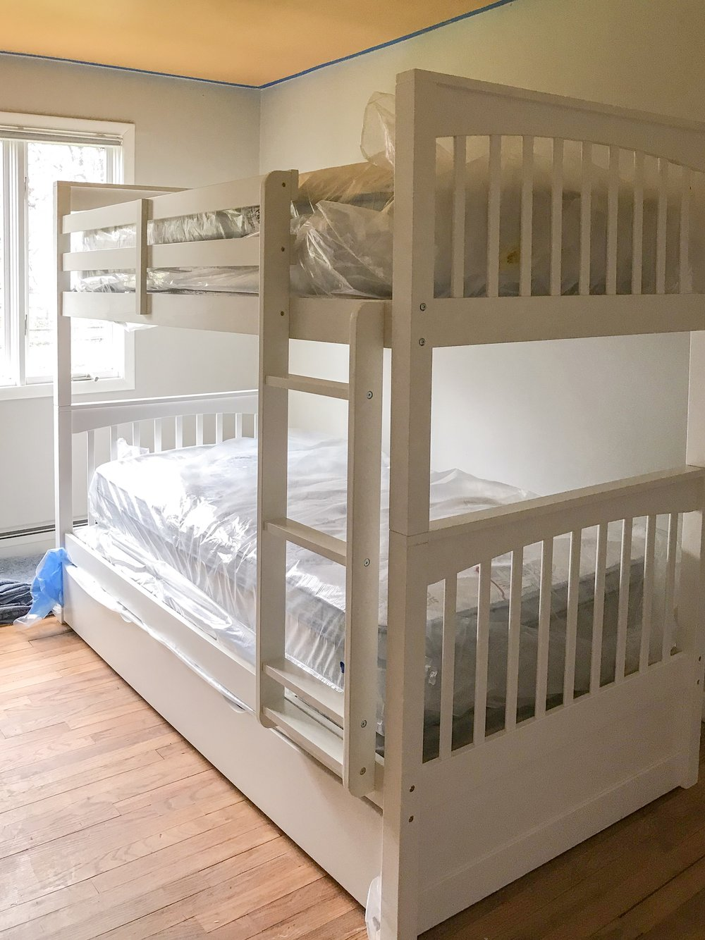 New Bunk Bed delivery for Kids Room Makeover by The Rath Project