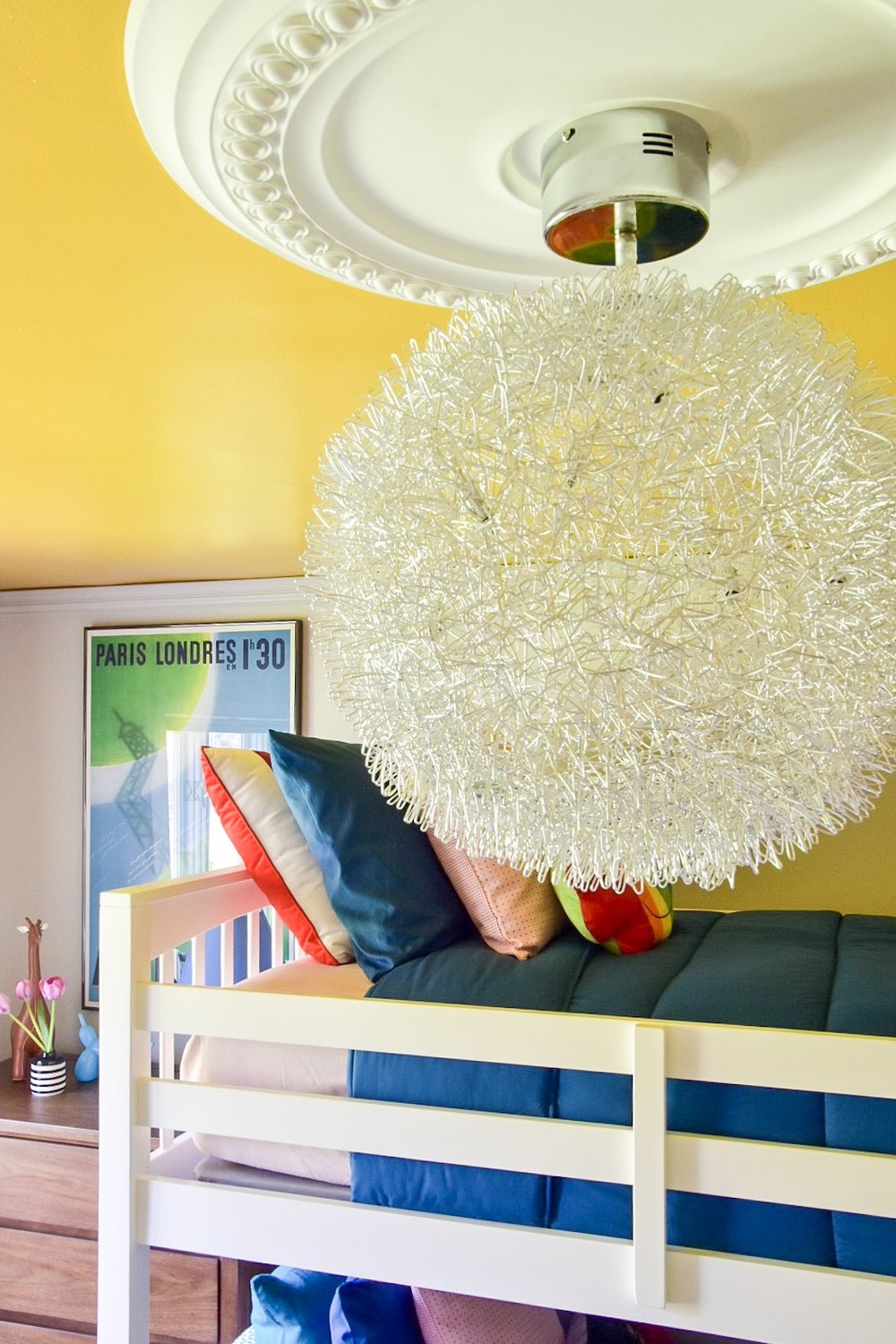 IMG_7284.JPGEclectic modern Colorful kids room modern chandelier and yellow painted ceiling by Diane Rath The Rath Project