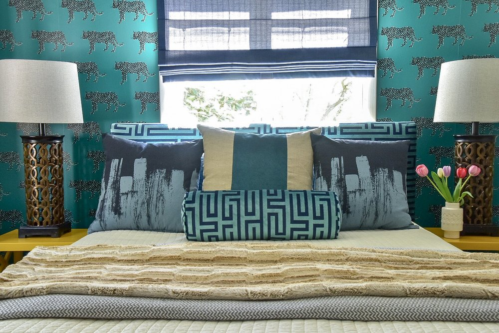 Eclectic modern Colorful layered patterned  bedroom by Diane Rath The Rath Project