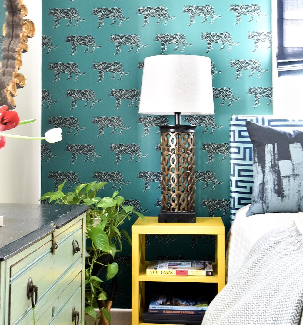 Eclectic modern Colorful teal patterned wallpapered guest room by Diane Rath The Rath Project