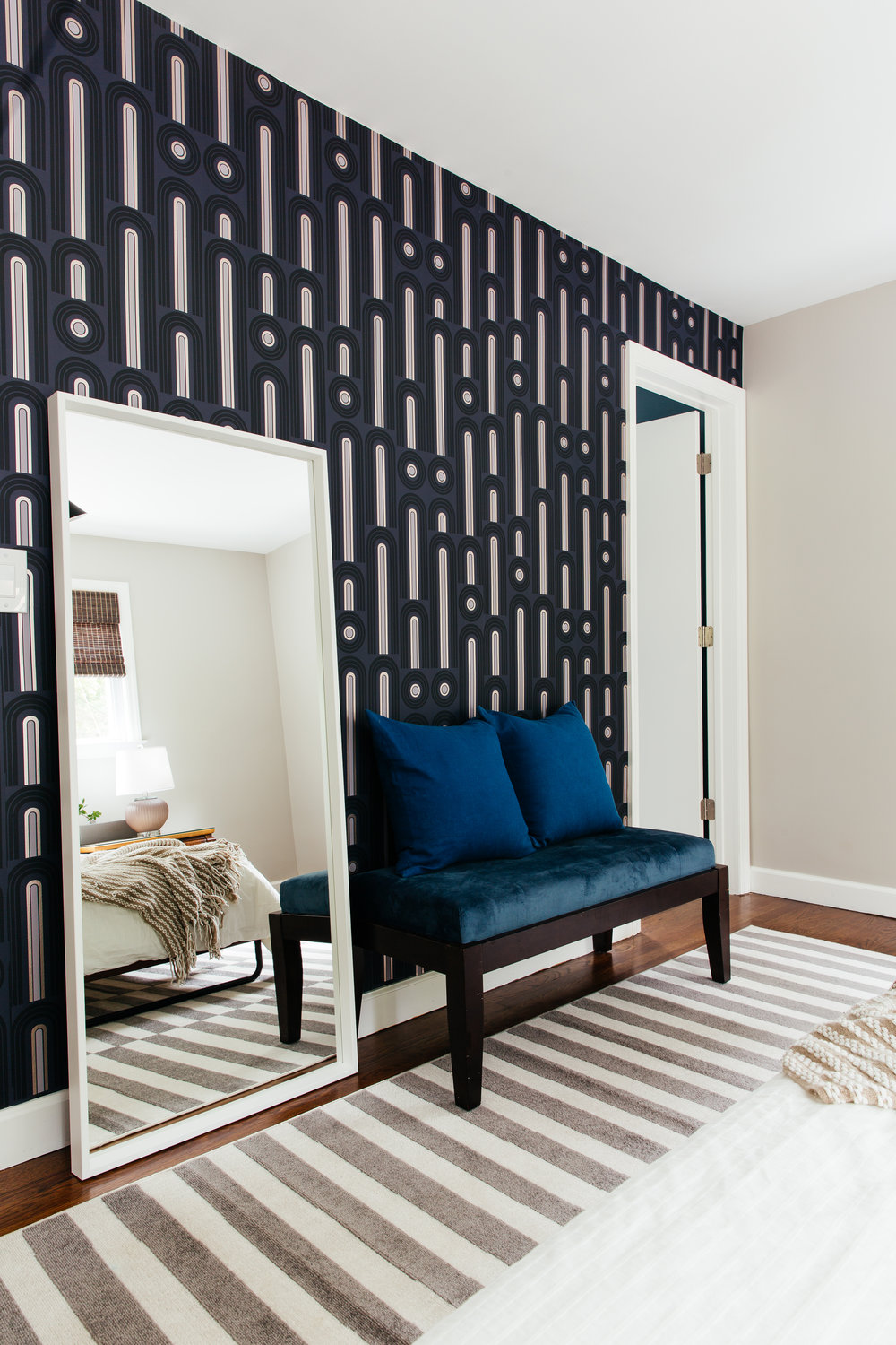 master bedroom design by the rath project with art deco temporary wallpaper novogratz wave pop Tempaper