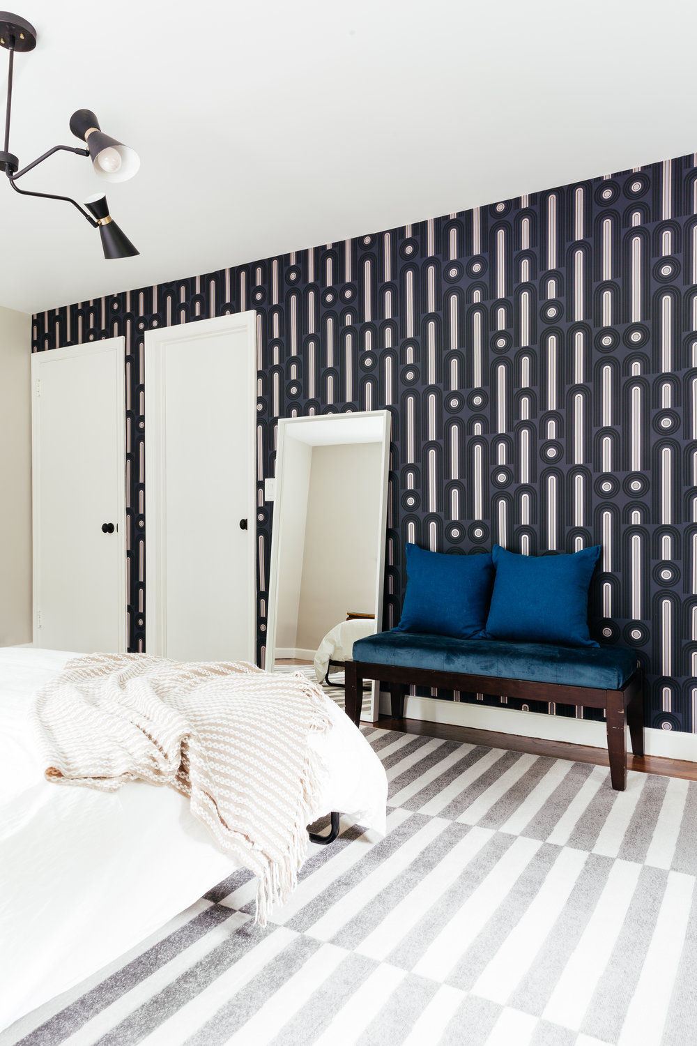 bold colorful master bedroom design by therath rath project using novogratz tempaper