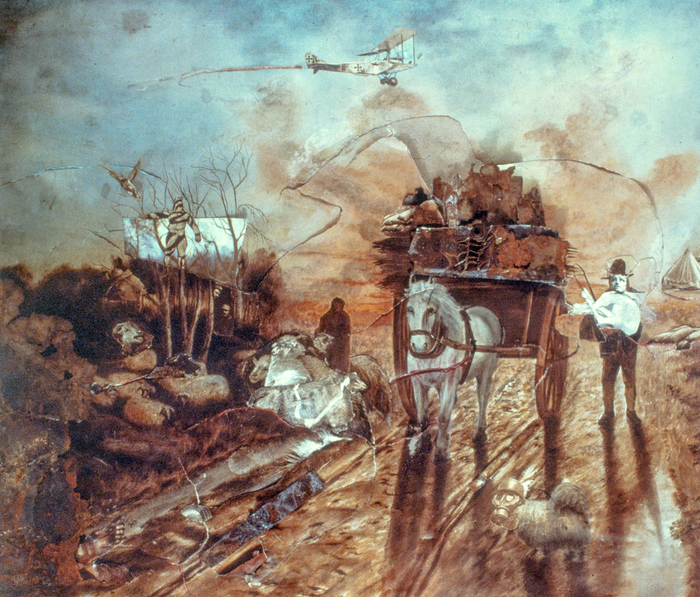 World War I collage added to print of an Angelus scene for Polaroid.