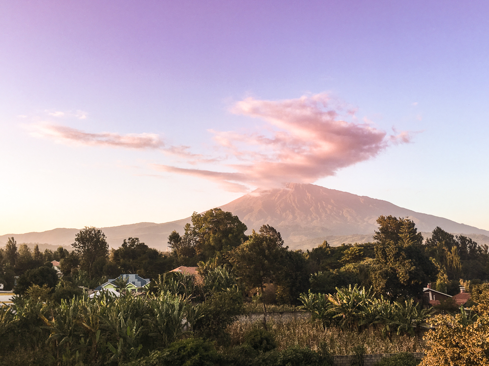 The view of Mount Meru from town.
