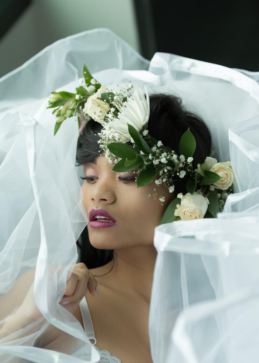 Bridal portrait Seattle Multicultural Veil Crown Pink Lipstick.jpg