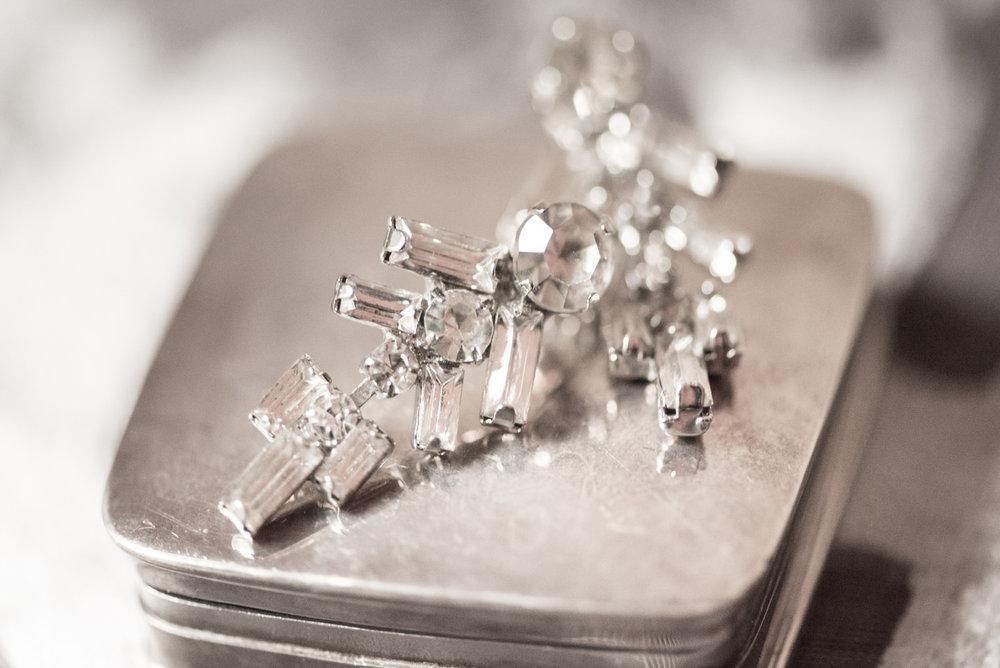 Diamond Vintage Earrings Bride Jewelery Seattle Wedding.jpg