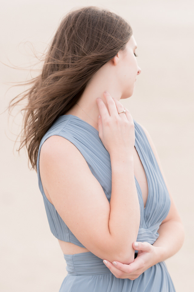 Engagement session detail of blue gown for beach