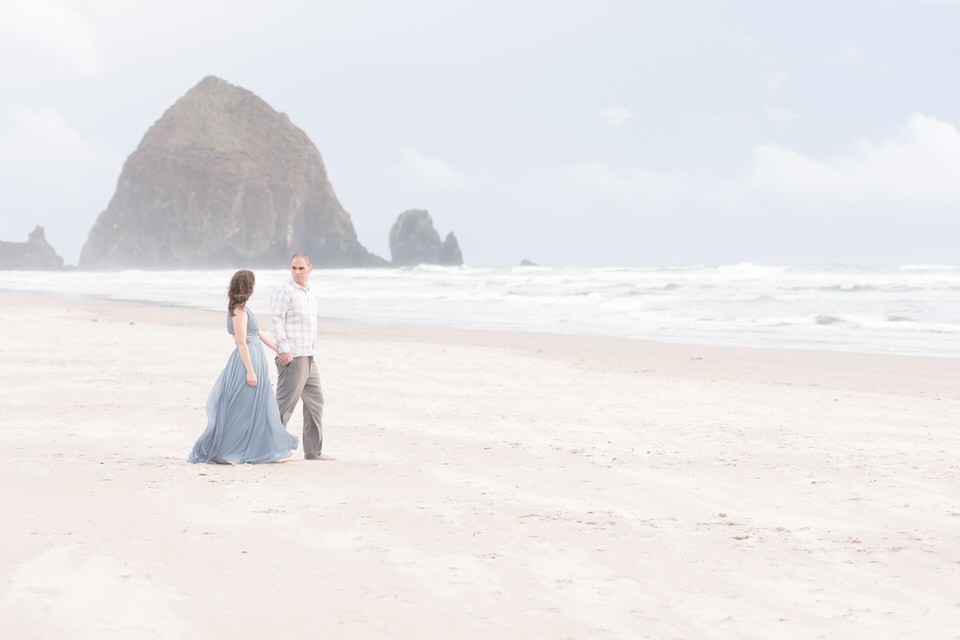 Cannon Beach Formal Engagement Session at Sunset