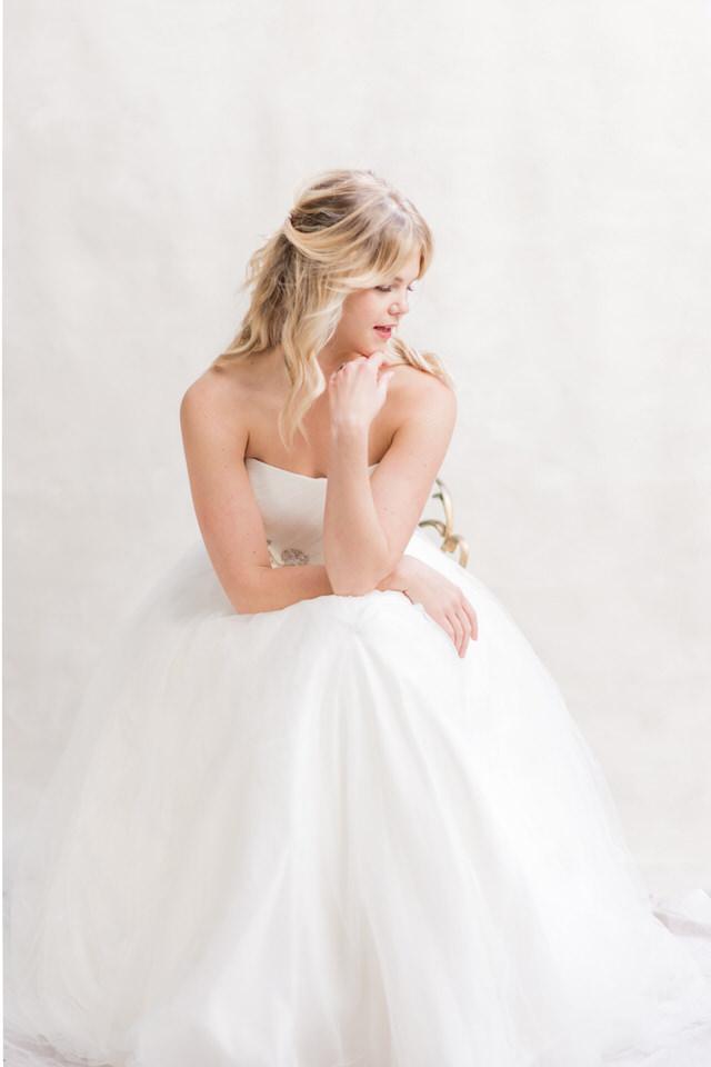 Weddings in Woodinville bridal portraits half updo blond tulle strapless dress light airy Christina Servin Photographs-2.jpg