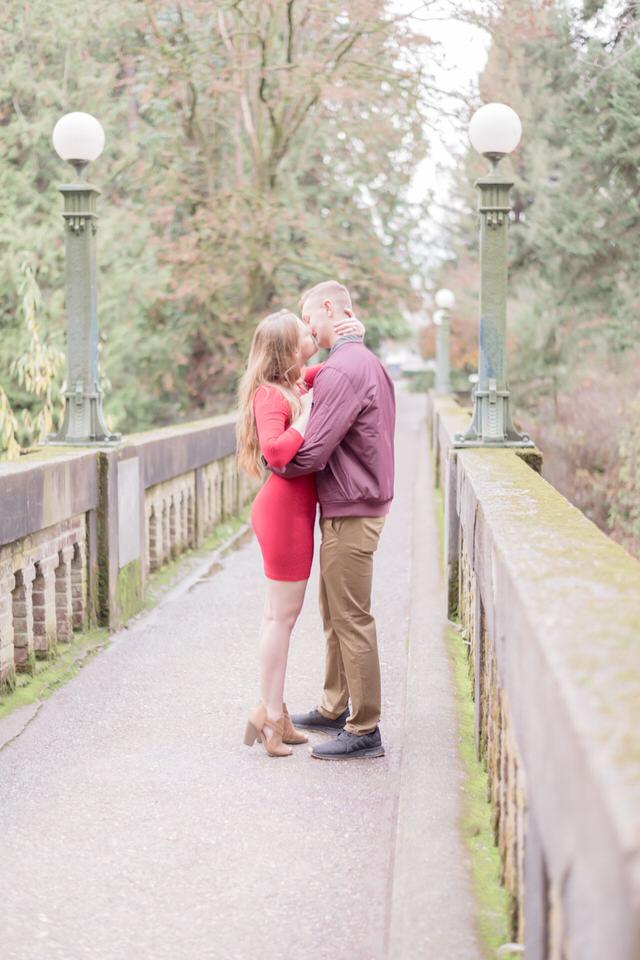 Seattle Engagement C Servin Photographs UW Arboretum Botanic Garden Bridge Fall Red Dress-6.jpg