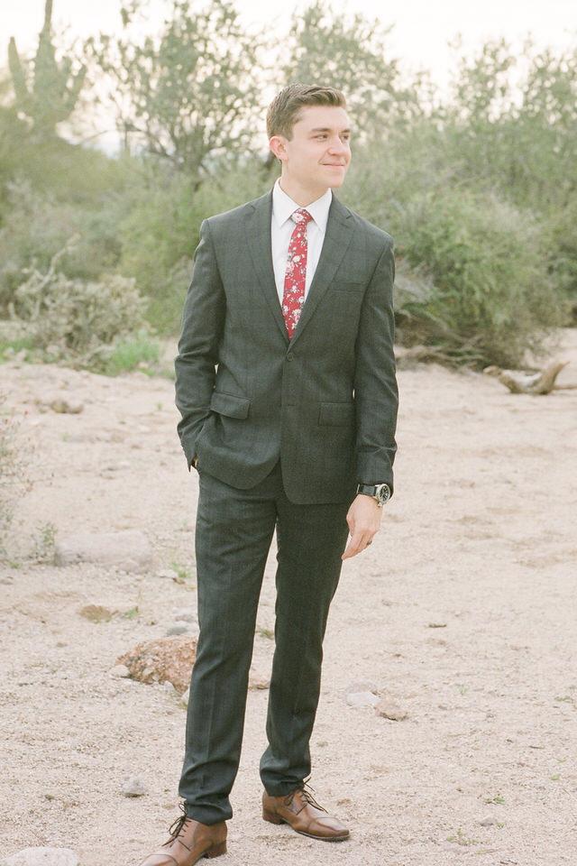 Usery Pass Groom Red Tie and Suit Arizona Desert Winter Christina Servin Photographs-4.jpg