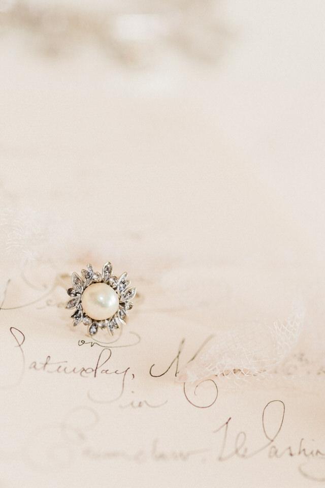 Vintage Pearl and Diamond Ring Wedding Jewelry Christina Servin Photographs Seattle-1.jpg
