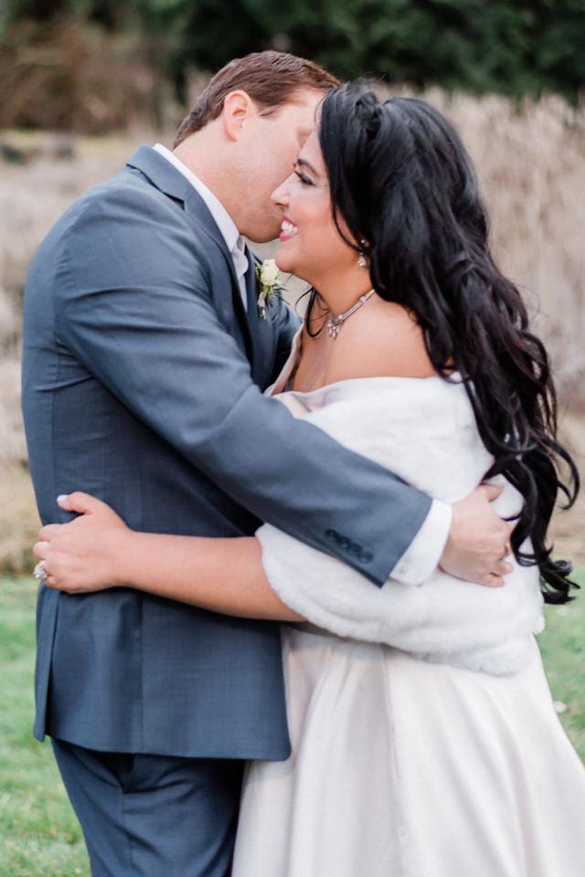 Spring Seattle wedding silk gown white fur wrap navy suit CServinPhotographs-6.jpg