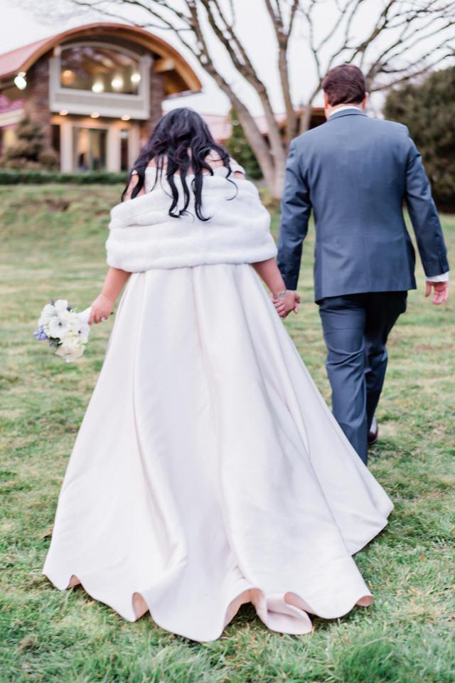 Spring Seattle wedding silk gown white fur wrap navy suit CServinPhotographs-10.jpg