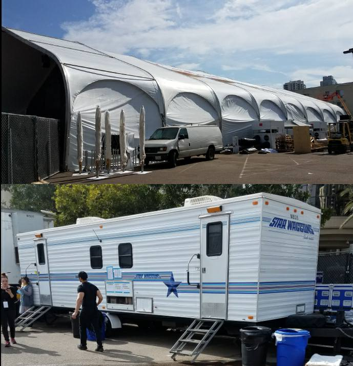 Make-up trailer where our incredible make-up team worked their magic.