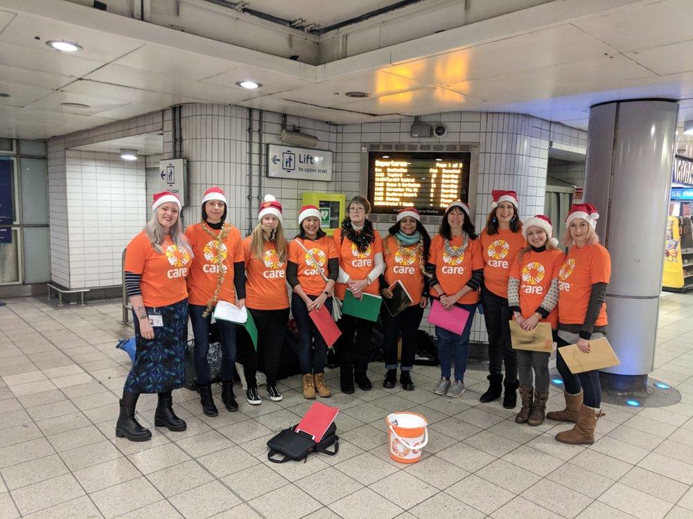 Fundraising at Paddington Station for Care International