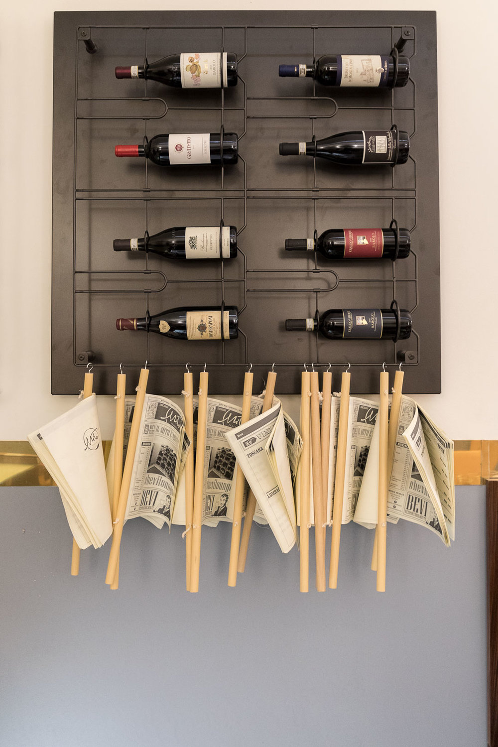 Mito Italia - Wine rack and newspapers.jpg